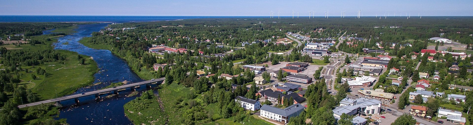 Kalajoki river and village photographed from the air.